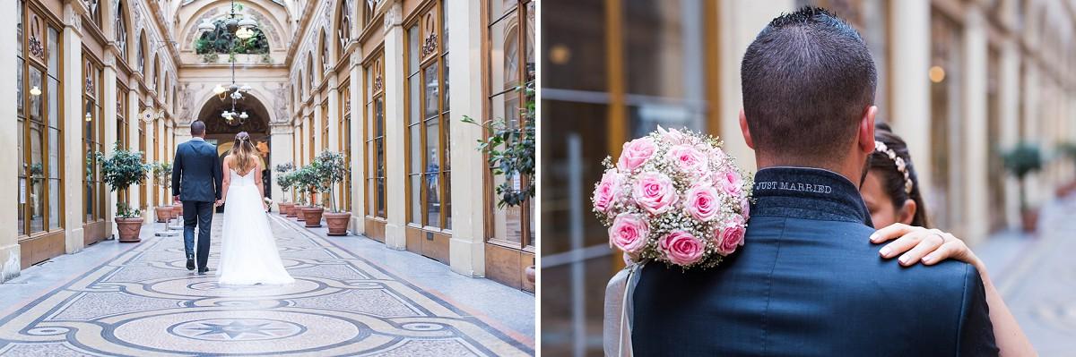photos de mariage naturelles à paris galerie vivienne