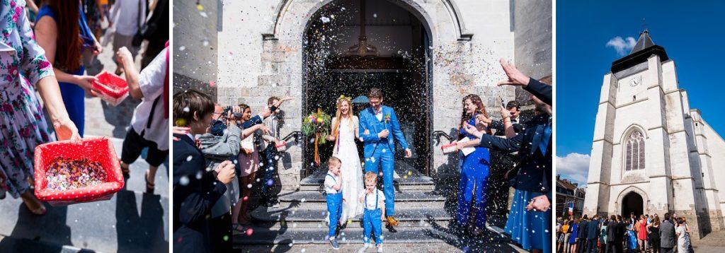 sortie de l'église de marcq en baroeul mariage